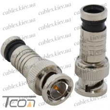 """Штекер BNC """"Tcom"""" компрессионный под кабель RG-6, латунь"""