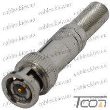 Штекер BNC под кабель, с пружиной, латунь (Тип 1), Tcom