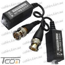 Видео балун для CCTV камер видеонаблюдения с кабелем, 400-600м, в_блистере (комплект 2шт), Tcom