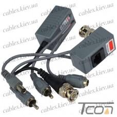 Передатчик-приёмник аудио-видео сигнала+ питание, по витой паре, Tcom