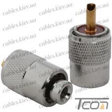 Штекер UHF под кабель (RG-58), накрутка, латунь, Tcom