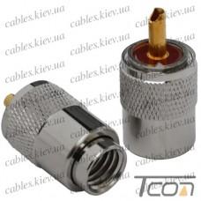 """Штекер UHF """"Tcom"""" под кабель (RG-11), накрутка, латунь"""