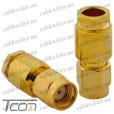 """Штекер SMA (реверсный) """"Tcom"""" под кабель (RG-58), """"позолоченный"""", латунь"""