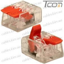 Многоразовая клемма PCT-412 (типа WAGО 221) с рычагами на 2 контакта 0,25-4мм.кв., Tcom