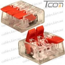 Многоразовая клемма PCT-413 (типа WAGО 221) с рычагами на 3 контакта 0,25-4мм.кв., Tcom