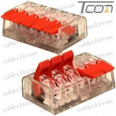 Многоразовая клемма PCT-415 (типа WAGО 221) с рычагами на 5 контактов 0,25-4мм.кв., Tcom