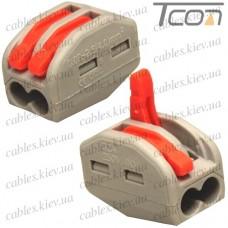 Многоразовая клемма PCT-213 (типа WAGО 222) с рычагами на 2 контакта 0,08-2,5мм (4.0) мм.кв., б/пасты, Tcom