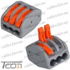 Клемма на 3 проводникa с рычагами 3х0,08-4/2,5мм, б/пасты, Tcom