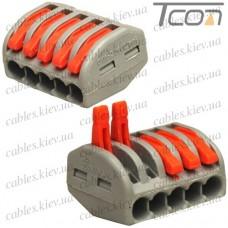 Клемма WAGO 222-4135 TCOM, с рычагами на 5 контактов, 0.08-2.5мм (4.0) мм.кв.,, без пасты, Tcom