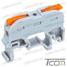 Многоразовая клемма PCT-211 на DIN-рейку с рычагами на 2 контакта, 600В, 32A, 0,2-4мм.кв., Tcom