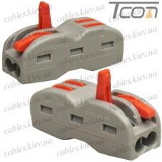 Многоразовая клемма-cоединитель PCT-222  с рычагами на 2+2 контакта, 600В, 32A, 0,08-4мм.кв., Tcom