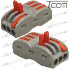Многоразовая клемма-cоединитель PCT-223 с рычагами на 3+3 контакта, 600В, 32A, 0,08-4мм.кв., Tcom