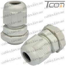 Пластиковый кабельный ввод диам.-3,5-6мм, PG-7, серый, Tcom