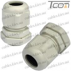 Пластиковый кабельный ввод диам.-10-14мм, PG-16, серый, Tcom