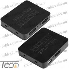 Сплитер HDMI 1x2, пластиковый корпус, блистер
