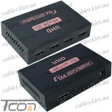 Разветвитель (сплитер) HDMI (1 гнездо HDMI - 4 гнезда HDMI), DC-5V, Tcom