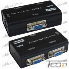 Сплиттер VGA (мини) на 2 порта (1 гнездо VGA - 2 гнезда VGA), DC-9V, 300mA (MT-2502-A), MT-VIKI