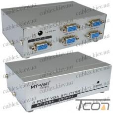 Сплиттер VGA на 4 порта (1 гнездо VGA - 4 гнездо VGA), металл, DC-9V, 300mA (MT-2504), MT-VIKI