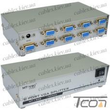 Сплиттер VGA на 8 портов (1 гнездо VGA - 8 гнезд VGA), металл, DC-9V, 5W (MT-1508), MT-VIKI