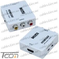 Конвертор HDMI в AV (гнездо HDMI (IN) - 3 гнезда RCA (OUT)), Tcom