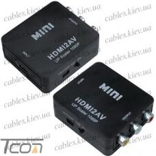 Конвертер MINI, HDMI в AV (гнездо HDMI (IN) - 3 гнезда RCA (OUT)), чёрный