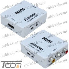 Конвертор AV в HDMI (3 гнездп RCA (IN) - гнездо HDMI (OUT)), Tcom