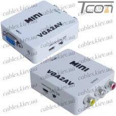 Конвертер mini VGA в AV (гнездо VGA (IN) - 3 гнезда RCA (OUT)), Tcom