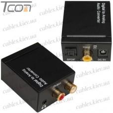 Конвертер цифрового звука с оптики в аналог +3.5мм, DC-5V