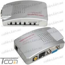 Конвертор VGA в AV (гнездо VGA - гнездо VGA, гнездо RCA, гнездо S-video), Tcom