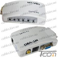 Конвертор AV в VGA (TV to PC) (гнездо VGA - гнездо VGA, гнездо RCA, гнездо S-video) (MT-TP02), MT-VIKI