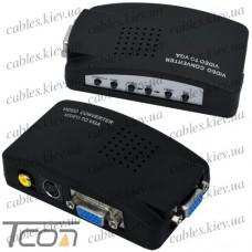 Конвертор AV в VGA (RCA,BNC composite, S-Video в VGA), 5V~19V, Tcom