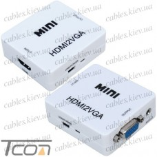 Конвертер MINI, HDMI в VGA (гнездо HDMI (IN) - гнездо VGA (OUT))