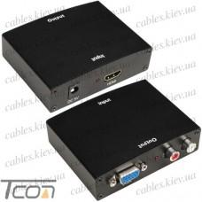 Конвертер HDMI в VGA + R / L (гнездо HDMI - гнездо VGA + 2 гнезда RCA) DC.-5V