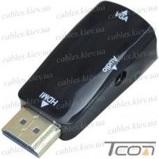 Конвертор с HDMI в VGA + аудио (штекер HDMI - гнездо VGA), Tcom