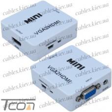 Конвертор VGA в HDMI (гнездо VGA + гнездо 3,5мм (IN) - гнездо HDMI (OUT)), Tcom