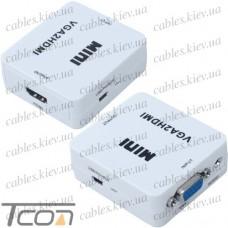 Конвертор VGA в HDMI (гнездо VGA + гнездо 3,5мм (IN) - гнездо HDMI (OUT))