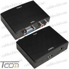 Конвертер VGA в HDMI+ R/L (гнездо VGA - гнездо HDMI + 2 гнезда RCA) DC.-5V