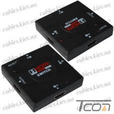 Соединитель HDMI (3 гнезда HDMI - 1 гнездо HDMI) (GC-301N), Tcom