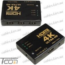 Свитч HDMI на 3 порта (3 гнезда HDMI - 1 гнездо HDMI), c пультом, Tcom