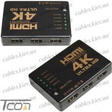 Свитч HDMI на 5 портов (5 гнезд HDMI - 1 гнездо HDMI), c пультом, Tcom