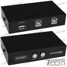 Соединитель USB (switch) на 2 гнезда USB B (MT-1А2В-С), MT-VIKI