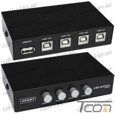 Соединитель USB (switch) на 4 гнезда USB B (MT-1А4В-С), MT-VIKI