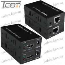 Устройство (удлинитель) для передачи HDMI сигнала по одному кабелю витая пара СAT.5E до 60 метров, Tcom