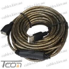 Удлинитель USB с кабелем 10метров, Tcom