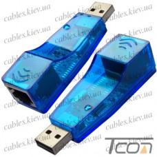 Переходник-адаптор ETHERNET USB 2.0 (штекер USB A - гнездо 8P8C(RJ45)), Tcom