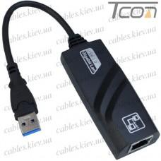 Переходник-адаптор ETHERNET USB 3.0 (штекер USB - гнездо 8P8C) с кабелем, чёрный, Tcom