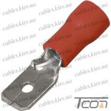 Кабельный разъём плоский (штекер) с изоляцией 0,5-1,5кв.мм, 2,8х0,8мм, красный, (100шт.) (MDD1.25-110(8)), Tcom