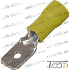 Кабельный разъём плоский (штекер) с изоляцией 4-6кв.мм, 6,35х0,8мм, жёлтый (100шт.) (MDD5.5-250), Tcom