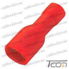 Кабельный разъём плоский (гнездо) с изоляцией 0,5-1,5кв.мм, 6,35х0,8мм, красный (100шт.) (FDFD1.25-250), Tcom
