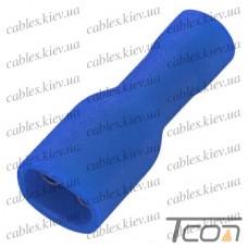 Кабельный разъём плоский (гнездо) с изоляцией 1,5-2,5кв.мм, 4,75х0,5мм, синий (100шт.) (FDFD2-187(5)), Tcom